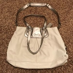 Coach white leather crossover satchel purse